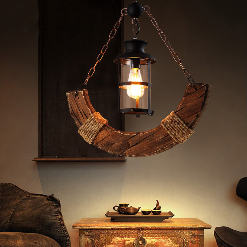 Industrial Style Single Light Wood Pendant Chandelier