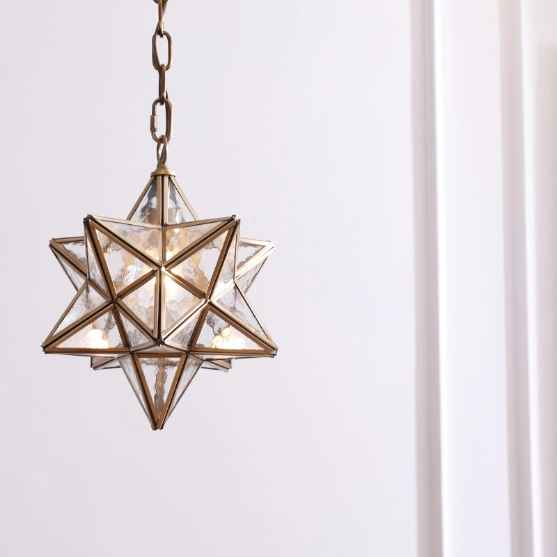 Aged Brass Star Pendant Light with Frosted Glass Shade