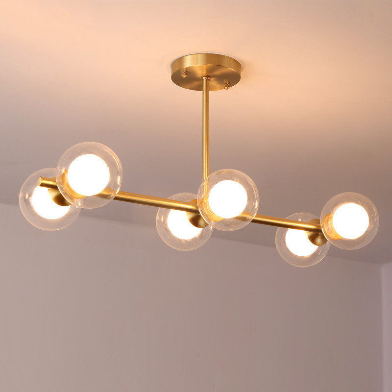 6 Light Semi Flush Mount in Brass with Clear/Opal Glass Globe Shade