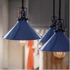 Blue Cone Shade Industrial Loft Pendant Light