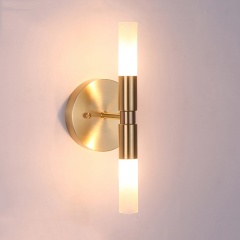 2 Light Brass Wall Lamp with Cylindrical Glass Shade