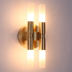 4-Light Brass Wall Sconce with Clear/Frosted Glass Shade