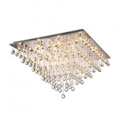 Chrome Modern 12-Light Crystal Rain Drops Flush Mount Ceiling Lamp