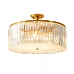 Mid Century Modern Round Crystal Semi Flush Mount in Gold with Crystal Strips