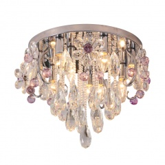 Modern and Elegant 18.9 inches W Clear and Pink Crystal Flush Mount Ceiling Lamp