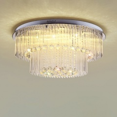 Modern LED Crystal 23.62 inches W 2-Tier Flush Mount