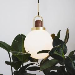 Art Deco Alain Glass Shade Brass Pendant Light