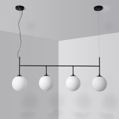 Modern Style 4-Light Linear Globe Chandelier