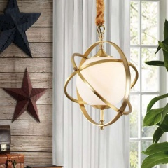 Copper Frame Spherical Glass Pendant Light