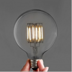 Edison Style LED Filament Large Round Bulbs. G95 6W (3 or 6 pack). Retro Look With LED Technology.