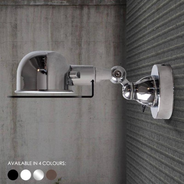 Fotis Short Arm Industrial Wall Light. Rustic Loft Warehouse Inspired Design.