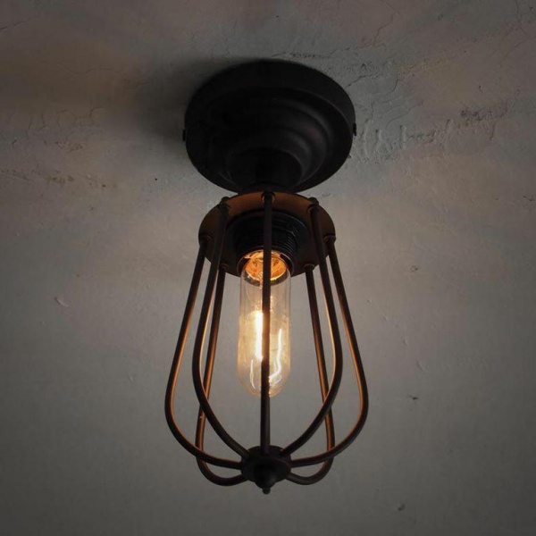 Pear Metal Cage Black Fixed Ceiling Light