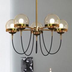 Dexter glass orb 5 head chandelier