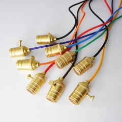 Edison Gold Switch Fabric Cord Pendant Light / Chandelier