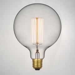 Retro Edison Filament Light Bulb. Large Round Bulb G125 40W (3 or 6 pack)