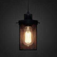 Black Mesh Cylinder Industrial Loft Pendant Light
