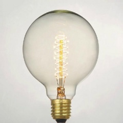 Retro Edison Spiral Filament Bulb. Large Round G80 40W (3 or 6 pack)
