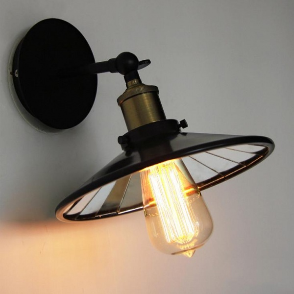Retro Black Industrial Loft Wall Light With Mirror
