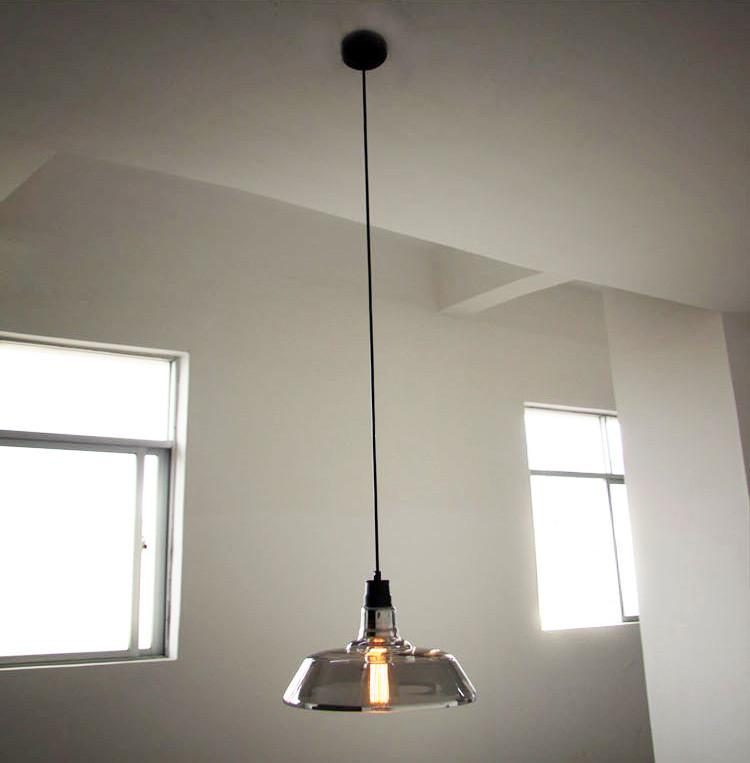 Tinted Glass Shade Industrial Pendant Light