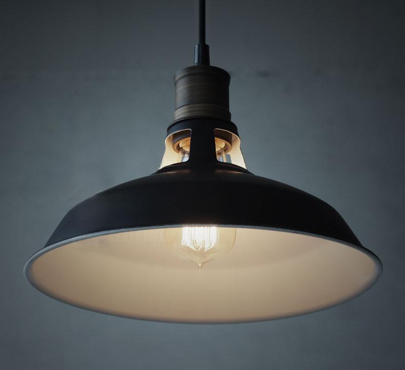 Duotone Vintage Industrial Pendant Light With Brass Fitting. Warehouse Loft Inspired.