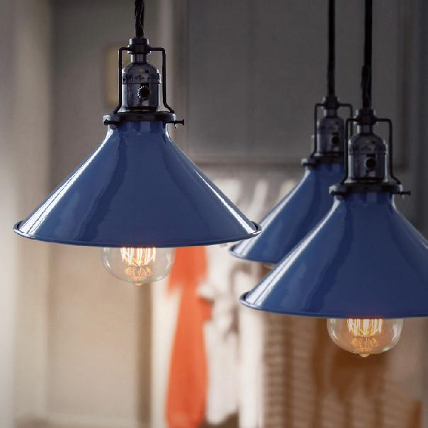 Blue Cone Shade Industrial Loft Pendant Light