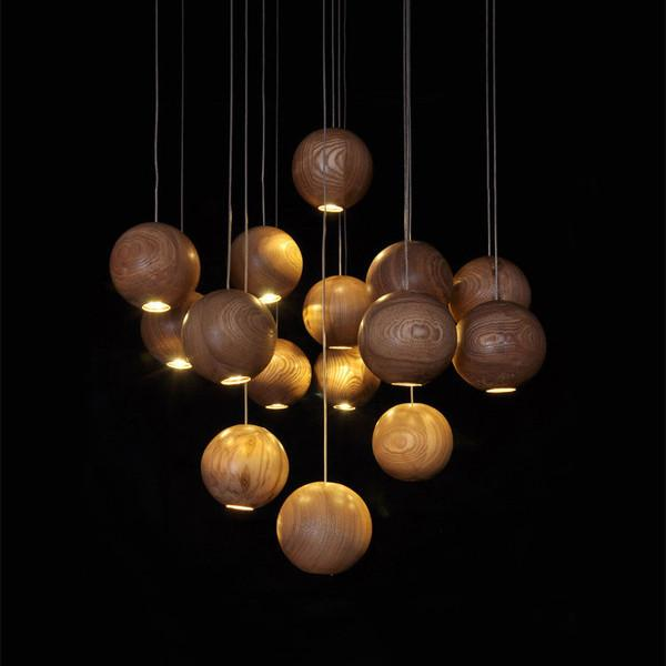 Wooden Orb Sphere Cluster Chandelier With LED Bulbs