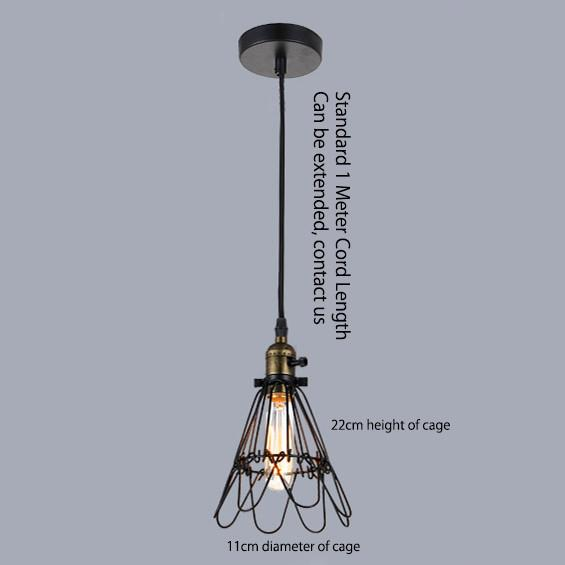 Kaye Metal Wire Cage Industrial Retro Pendant Light