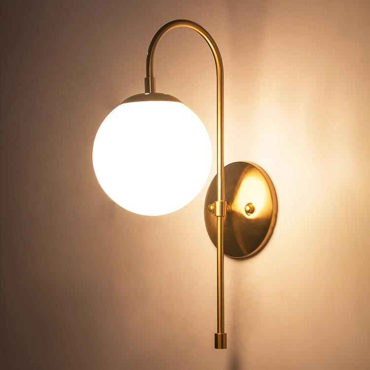 Art deco milk glass ball wall light