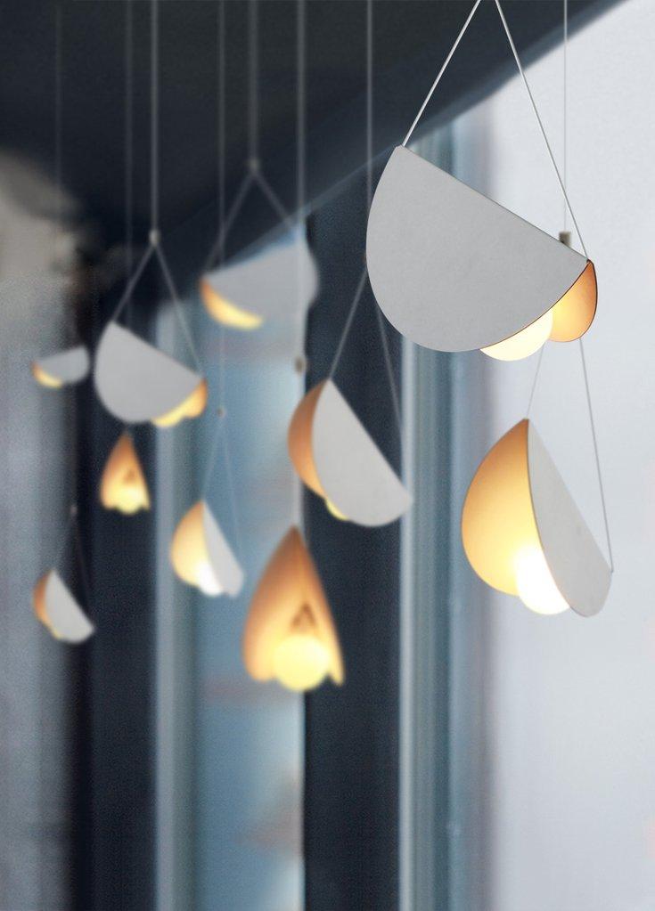 White glider pendant light chandelier