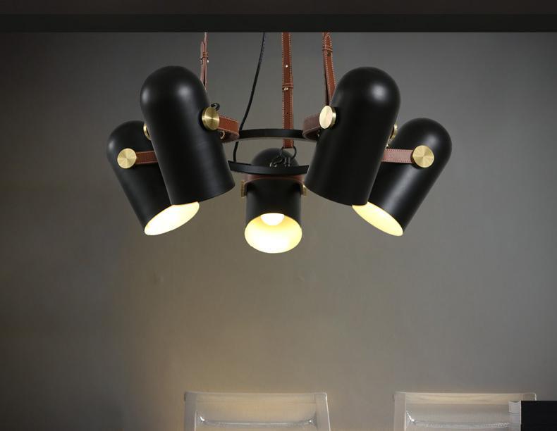 Black Spotlight Minimalist 5 Head Chandelier