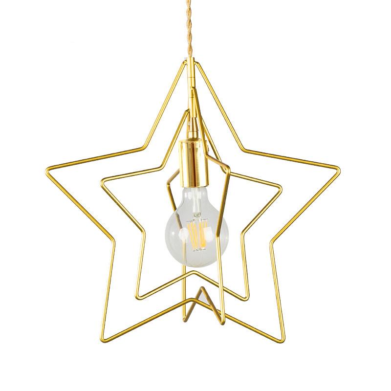 Golddn Star Brass Pentagram Pendant Light