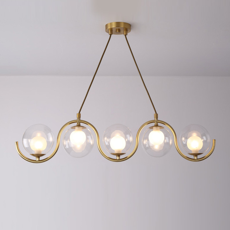 3/5 Light Brass Linear Chandelier with Clear Blown Glass Shade