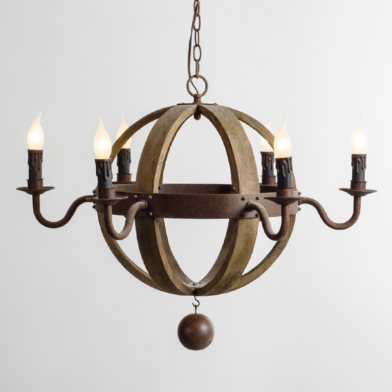 Farmhouse 6-Light Candle Wood Globe Chandelier
