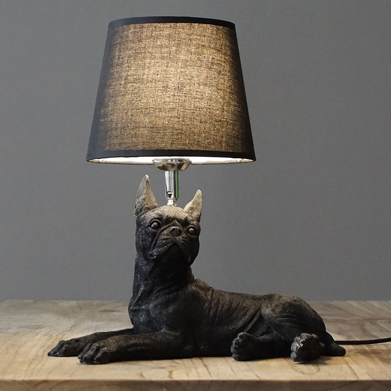Boston Terrier Shaped Table Lamp with Fabric Shade