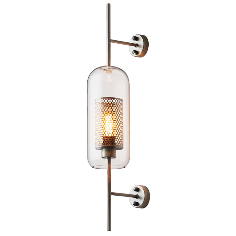 Modern 1 Light Glass Wall Sconce in Brass Silver