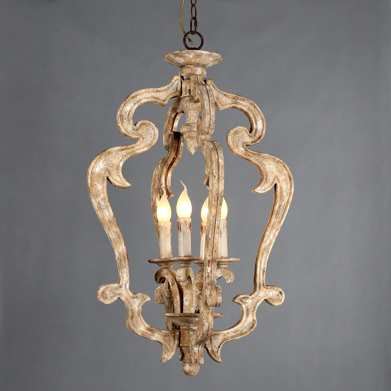 French Country 3-Light Off-white Wooden Chandelier