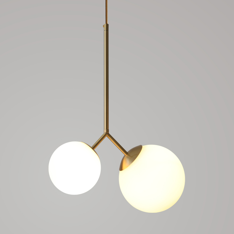 Modern Dual-head Brass Hanging Pendant Lamp with Opaline Glass Shades