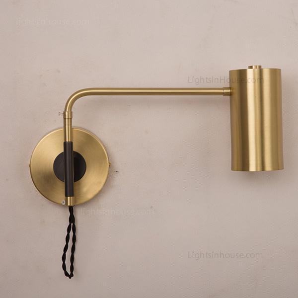 Modern 1 Light Brass Wall Sconce, Bedside Reading Wall Lamps