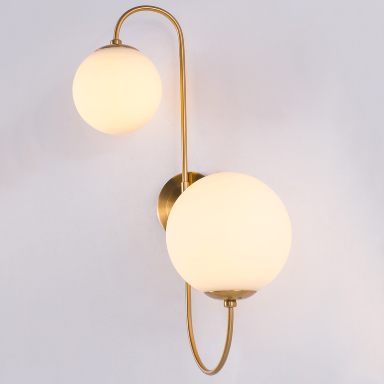 Modern 2 Light Wall Sconce in Brass with Mouth Blown Opaline Spheres