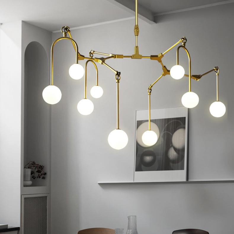 Branching Pendant Light Chandelier in Gold/Black