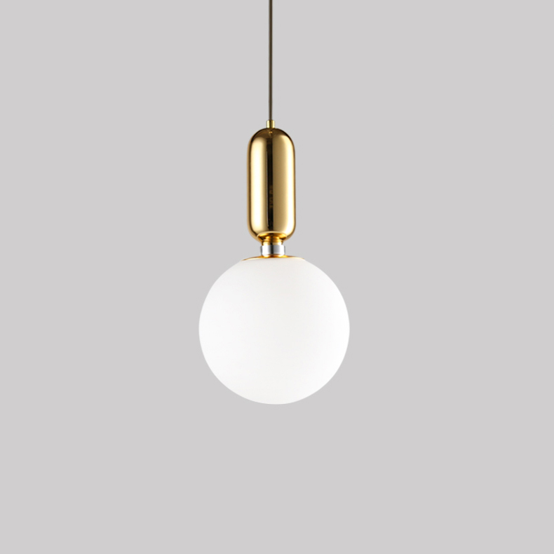 Modern 1 Light Aballs T Pendant Lamp in White/Black/Gold