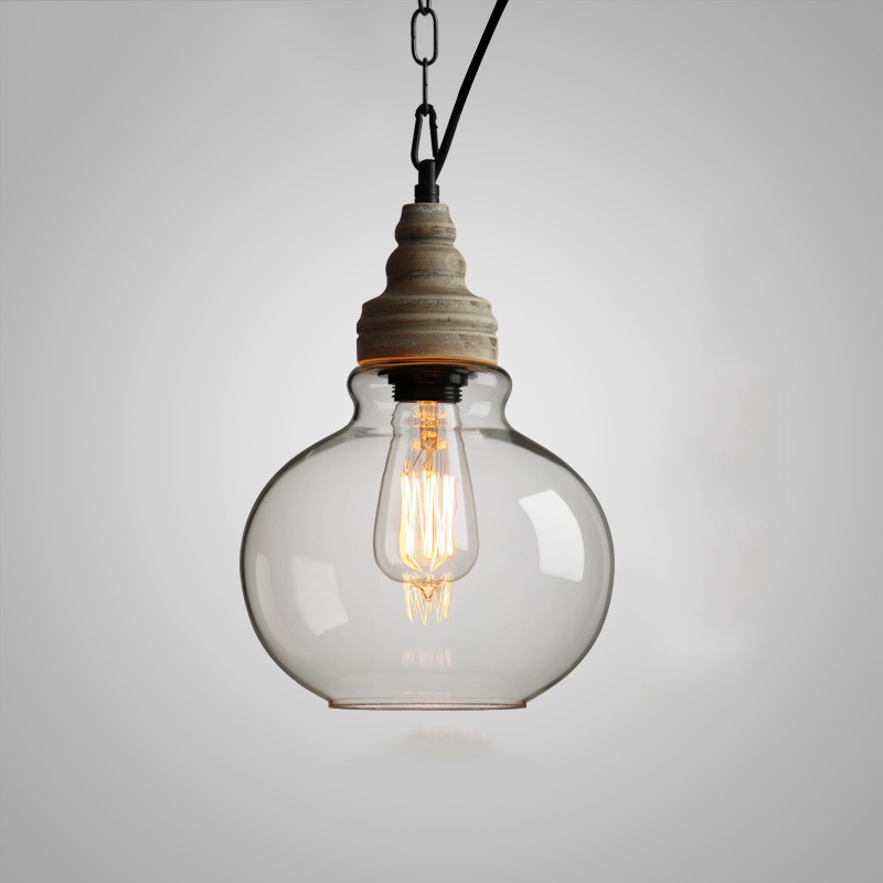 1 Light Wood Glass Pendant Light