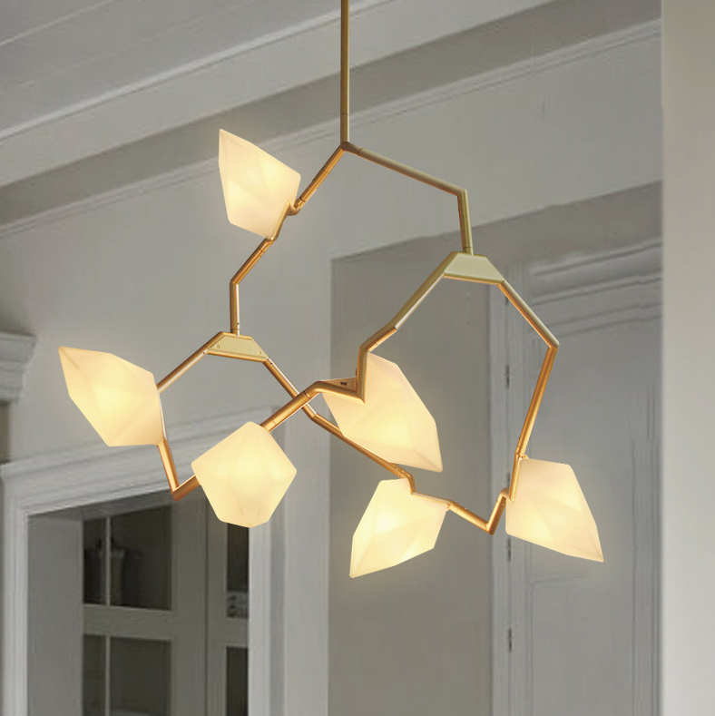 Seed 02 Chandelier in Brushed Brass/White