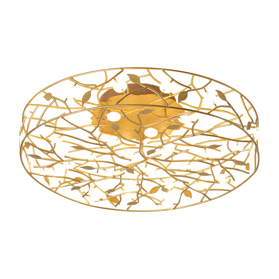 Round Branching LED Close to Ceiling Lamp in Gold/White