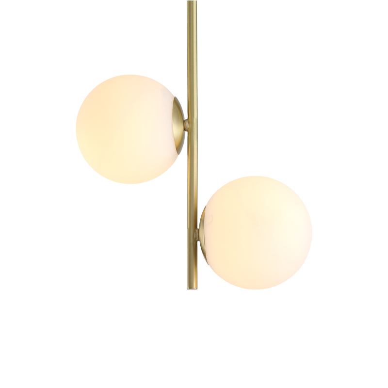 2 Light Brass Pendant Light with Opaline Hand-blown Glass Shade