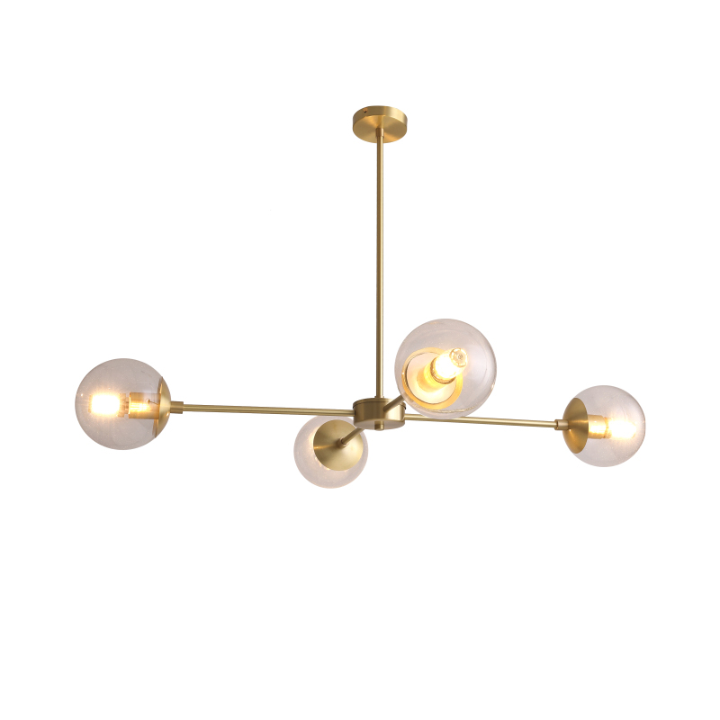 4 Light Alto Compass Chandelier in Brass with Clear Glass Globes