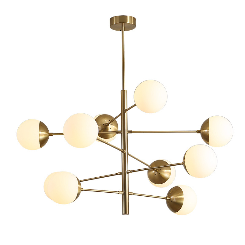 8/10 Light Tortora Brass Chandelier with Opal Blown Globes