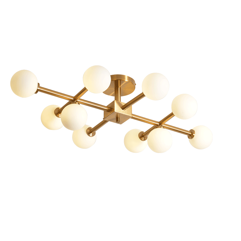 Brass Semi Flush Mount Ceiling Light with Opal Globes