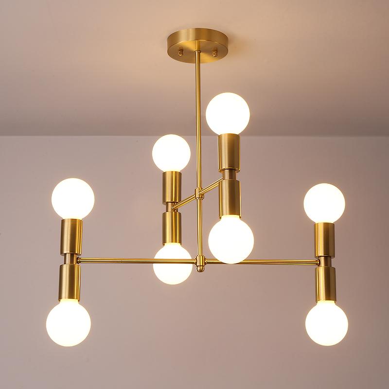 8 Light Modern Style Semi Flush Ceiling Light in Brass
