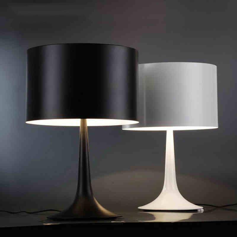 Modern Simple Black/White Spun Light Table Lamp